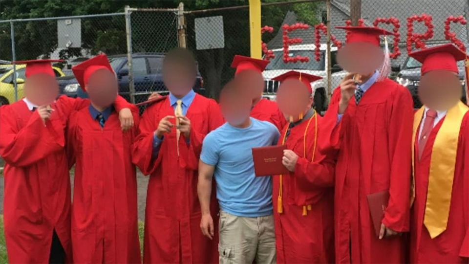 Saugus High School graduates smoked after Friday's ceremony.